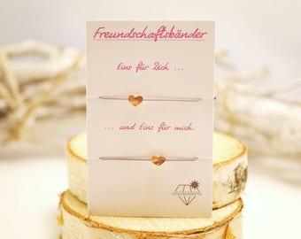 Friendship bracelet set ~ heart ~ Rosé gold