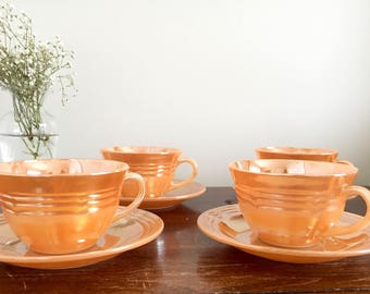 Vintage Peach Cup and Saucer Set - Set of Four | Retro Tea and Drinkware | Lusterware | tea cup | Fure King | Mid Century