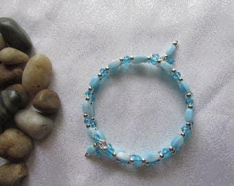 Blue Vintage German Bead Memory Wire Bracelet