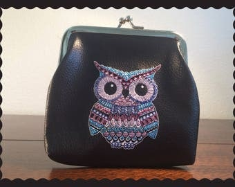 Hand Embroidered two-sided Owl coin purse