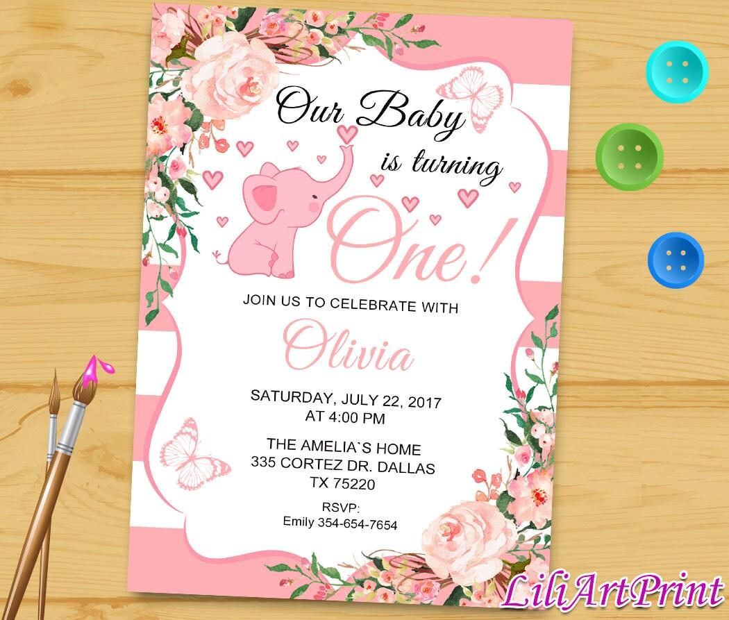1st Birthday Invitation, Pink Birthday Invitation, Girl Birthday ...