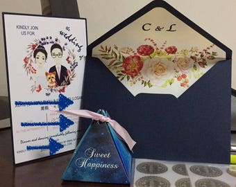 Customize Colour/Name/Flower 10x Wedding Invitation Envelope