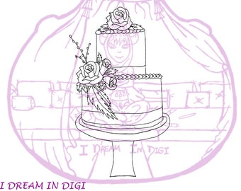 DIGITAL STAMP,coloring page,wedding cake