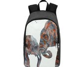 Elephant Backpack Rucksack Vegan Backpack School Bag College Backpack Travel Bag Shoulder Bag  Big Daddy (White)