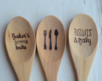 Set of 3 Wood Burned Spoons
