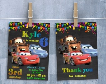 Cars Invitation, McQueen Cars Movie Invitations, Cars Birthday Party Invitation with Free Thank You Card, Personalized JPEG