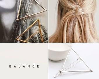 Silver zinc alloy triangle hair clip