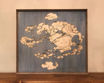 Avatar the Last Airbender Laser Cut Topographic Map of the Four Nations