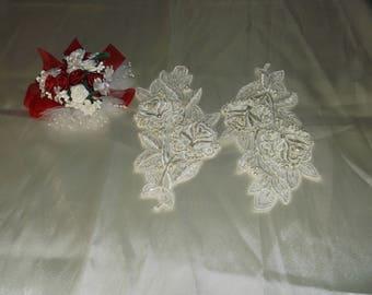 Ivory Pearl/Rhinestone Beaded Satin Flower Applique