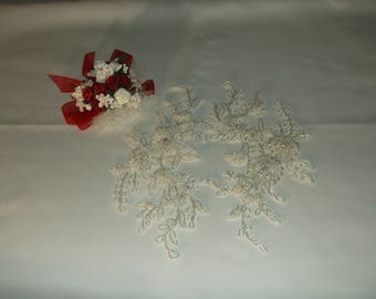 Ivory Silver/Rhinestone Beaded Flower Applique