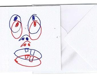 Funky Face Card | Weird Greetings Card | Teacup Illustration