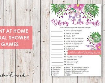Disney Love Songs Bridal Shower Game. Instant Download. Printable Bridal Shower Game. Pink and Purple Flowers. - 03
