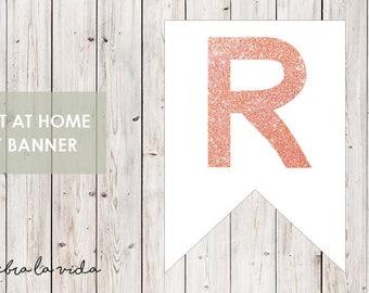 DIY Banner - 'R'. Instant Download. Printable Banner Letters. Pink Glitter. - 01
