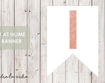 DIY Banner - 'I'. Instant Download. Printable Banner Letters. Pink Glitter. - 01