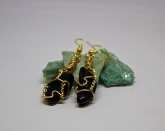 Black Tourmaline Crystal Pendant Wire Wrapped Earrings