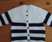 Hand knitted baby boys cardigan