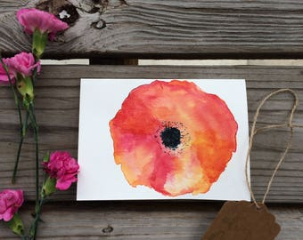 Watercolor poppy card series #2