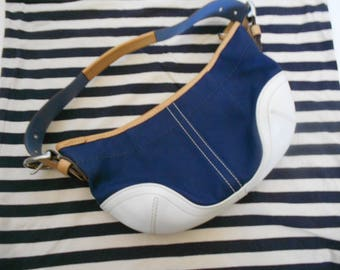 Coach hobo shoulder bag blue canvas cream leather bottom trim