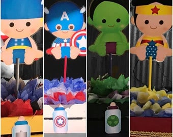 Custom made Super Hero babies centerpieces
