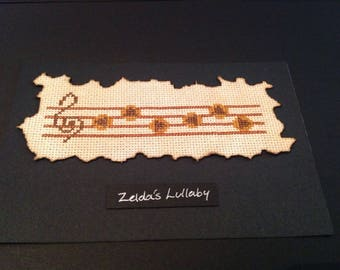 Framed Zelda cross stitch, Zelda's Lullaby.