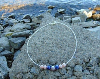Lavender, purple and pink pearl beaded necklace with pearl charm