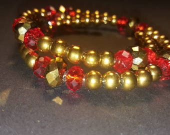 Gold glass bead and Crystal wrap bracelet