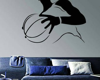 Wall Decal Basketball Player 40x35 Inches Black Wall Sticker Wall Murals Decals