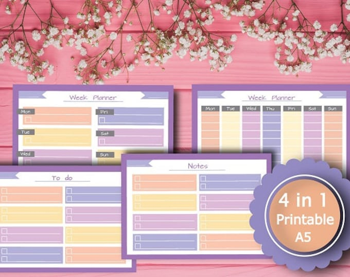 Planner Printable Week Planner To do list, Notes, A5, INSTANT Download