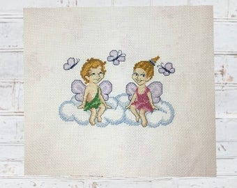 Cross Stitch Completed - Finished ,Handmae, Framed. Handmade Embroidery. Finished needlepoint. Elphs in Love