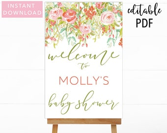 Floral Baby Shower Welcome Sign, Baby Shower Welcome Sign, Floral Baby Shower, Boho Baby Shower, Printable Welcome, Baby Shower Welcome