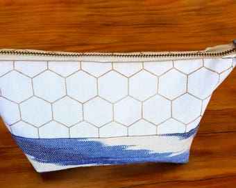 Blue/White/Gold Make up bag