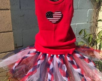 freedom tutu fourth of July birthday fireworks spirit Braided 4th of July red white and blue
