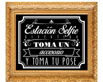 Spanish Selfie Station Photo booth props  signs - Grab a prop & Strike a pose, Instant Download, Printable, 300 dpi, High Resolution