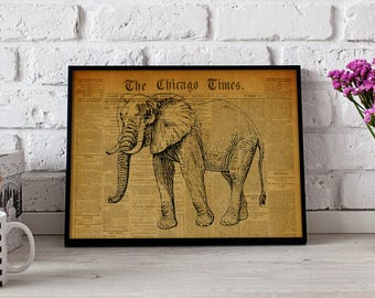 Elephant Animal Africa Vintage poster, Elephant Animal wall art, Gift poster, Elephant Animal Vintage wall decor, Elephant Animal print