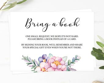 Bring a Book Baby Shower Insert Instant Download Floral Baby Shower Games Watercolor Baby Shower Book Request Cards Book Request Insert FU1