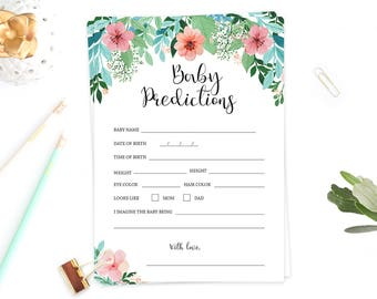 Baby Predictions Card Printable, Predictions for Baby, Baby Prediction Cards, Floral Baby Shower Game Instant Download, Baby Shower Idea FG1