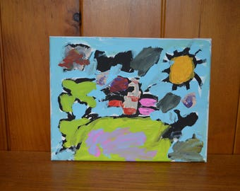 Children's art, Abstract painting on canvas