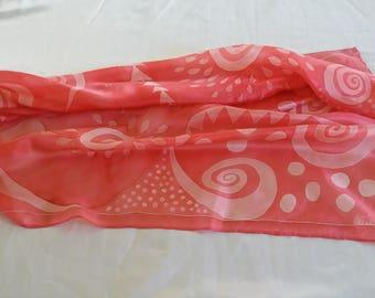 Bohemian hand painted silk scarf