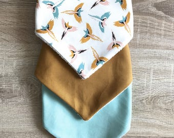 Set of 3 bibs bandanas - birds