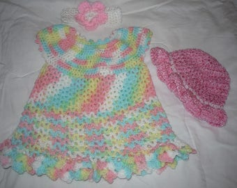 Crochet newborn baby dress headband and hat