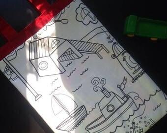 Coloring bag Color me Mini tote Kids tote Library tote Book bag School tote Kindergarten tote Dance Bag Gymnastics Bag Art Bag Lined Handbag