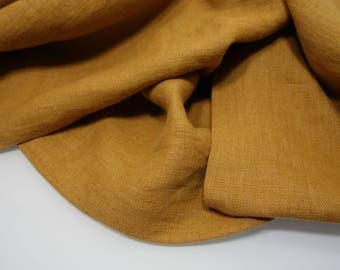 Linen fabric, washed linen, 190gsm, mustard color. Linen fabric by the meters, linen by the yard. For clothes, bedding and other textile