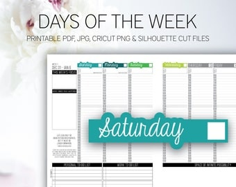 DAYS of THE WEEK | Classic Passion Planner Printable Stickers | Sun | Mon | Tue | Wed | Thu | Fri | Sat | Printable Planner | Download
