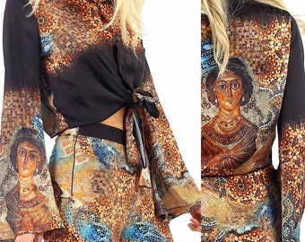 Goddess '70s Tie Front Satin Button Down Long Flare Sleeve Shirt Top