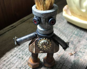 Robot assemblage sculpture - BRUSH-HEAD ZED - From outer space ! He's been looking for a new space crew!