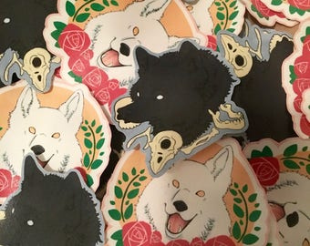 Wolves Rose & Bone Stickers