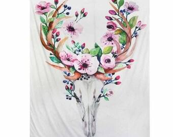 Floral Deer Skull Tapestry