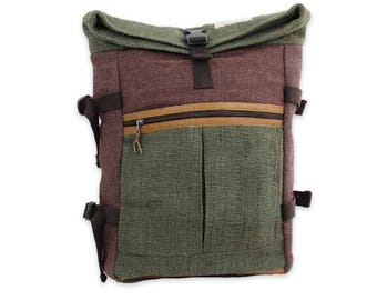 Tanahu Backpack | Green & Brown | 100% hemp | Handmade