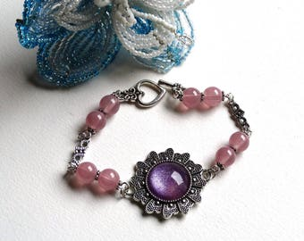 Romantic silver violet purple rose bracelet