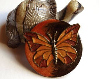 Round Butterfly pin handcrafted autumn colours